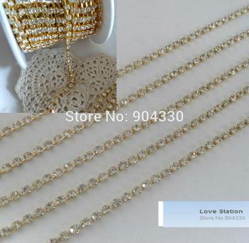 Free Shipping! 10yards 2mm ss6 A-Grade Gold Rhinestone Diamante Chain Craft Wedding Decoration