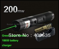 5sets,Laser 303 200mW Green Laser Pointer Adjustable Focal Length and Star Pattern Filter+4000MAH 18650 Battery+charger