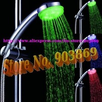 Temperature control 3 colors change LED Shower head,No battery LED hand shower,self-powered led handy shower head,10pcs/lot
