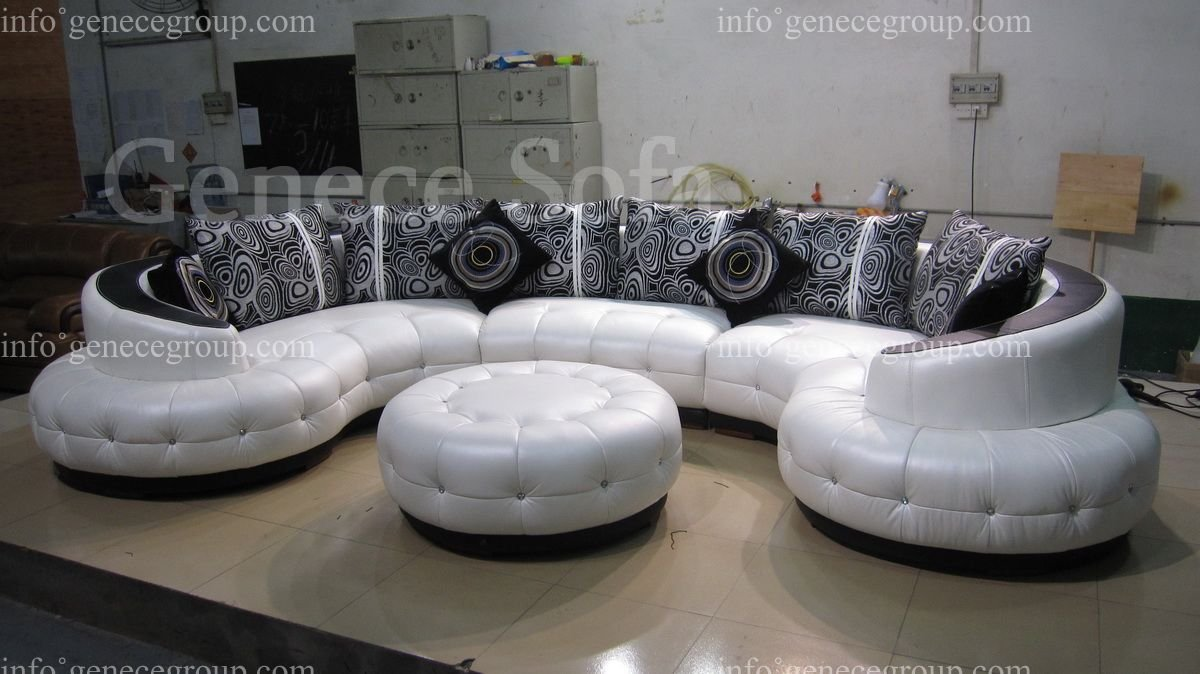 Arc Shape Top Grain Genuine Leather Sofa, High Quality Round Sofa, Fabric Pillows, with Crystal Buttons, Ottoman(China (Mainland))