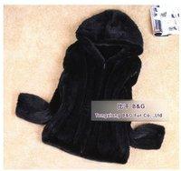 BG6467  Black Genuine Knitted Mink Fur Winter Jackets with Hood Wholesale Retail Winter Ladies Warmer Jacket