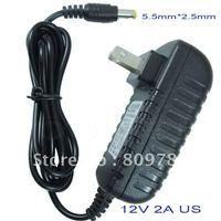 AC 100V-240V Converter Adapter DC 12V 2A Power Supply  US  Plug 15PCS+ DHL Free shipping DC 5.5mm x 2.5mm 2000mA