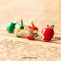 Min.order is $10 (mix order) Fashion Earring.Metal Apple Stud Earrings Rhinestone Earring 2 Colors Free shipping Ke122