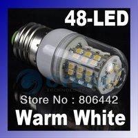 New  E27 3528 SMD 48 LED Bulb Lamp Light Warm White 200~240V with Transparent Cover 2680