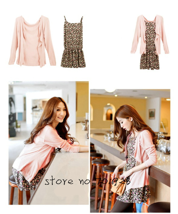 Holiday Sale 2PCS COTTON CARDIGAN+PRINTED HALTER TOP Y3037(Drop shipping support!)