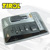 TIROL Universal Portable 5 in1 USB Multi-Function Cell Phone Mobile Car Charger + USB Cable New  Free Shipping T17250a