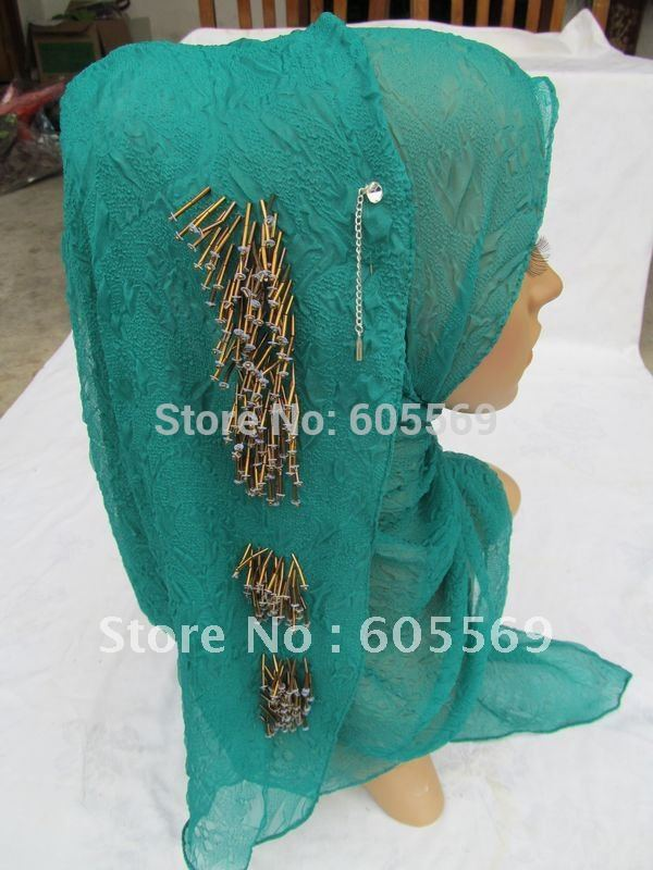 bs017 free shipping boutique silk crepe islamic scarf with hand-made shell beading in 170cm*65cm with reasonable price(China (Mainland))