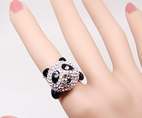 New Fashion Silver-Plated Full Rhinestone Panda Finger Ring 2pcs/Lot Z-Q125 Free shipping