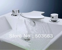 5 Pisces Waterfall Bathroom Basin Mixer Tap Bathtub Three Piece Faucet Set YS-8912k