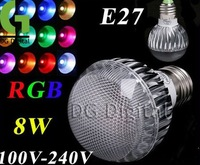 20pcs/ LOT AC 100-240V RGB LED Lamp 8W E27 led Bulb Lamp with Remote Control led lighting + DHL free shipping