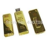 gold bar shaped real capcaity 2GB 4GB 8GB 16GB 32GB USB flash stick drive usb pen drive usb stick disk thumb drive  10pcs/lot