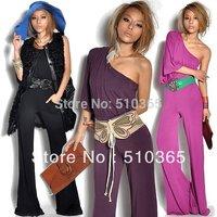Women jumpsuits 2014 new fashion chiffon&silk regular sexy overalls empire oblique shoulder brand jumpsuits women 2710