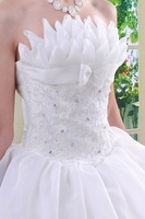 2012 Newest Design ! Fashion Floor-length Elegant  Showcase Satin Sweet Princess Organza Bridal Wedding Dresses