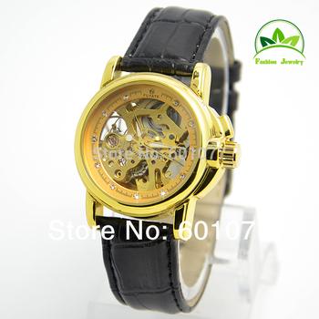 Wholesale women wristwatches ladies fashion Genuine leather strap Mechanical hand wind watch rhinestone Women dress watches WM1