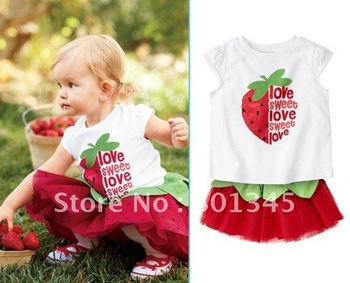 Free Shipping,4set/lot,1set,summer lovely Strawberry design kids children dress set,girl Beach set,T-shirt skirt set,1-4T,red