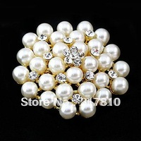 Gold/Rhodium Silver Plated Clear Rhinestone Crystal Pearl Cluster Wedding Bouquet Flower Pin Brooch