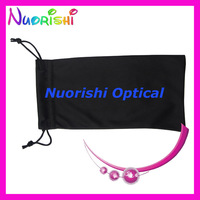 50pcs Free Shipping Wholesale Black two pull ropes microfibre sunglass soft case bag  glasses pouch  CP030