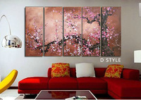 30*90cmx5p ,Free shipping ,5PCS  Modern Abstract Oil Painting on Canvas ,Chinese Flower Oil Painting JYJLV201