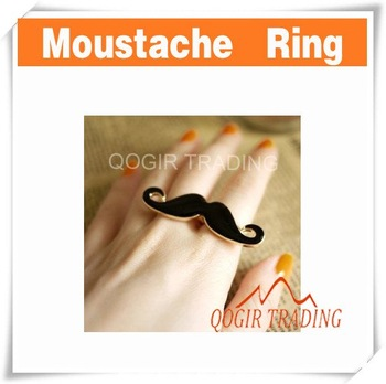 Funny Vintage Moustache Design Two Finger Ring 6540