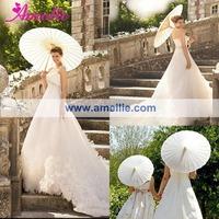 Free shipping Stock White Wedding Paper Parasol Umbrellas