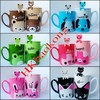 Free Shipping Couple Cartoon Animal Coffee Mugs Cups With Lid Spoon Cheap Retail