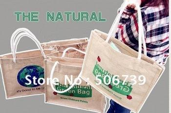 Free Shipping 2pcs/lot green handbag/tote bag, made of linen/cotton blended fabric, original,natural&enviroment-friendly