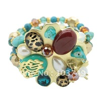 Hot Sale! Top Quality Woman's BOHO Style Bracelet,  Natural Turquoise, Agate,Created Gemstone Bracelet  Free Shipping HA516