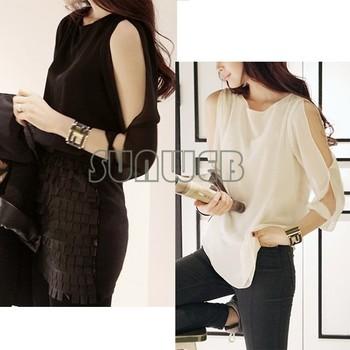2013 Korean Womens Fashion Cut Out Open Shoulder Loose Shirt Chiffon Blouse Tops free shipping 3786