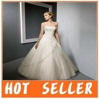 Custom Made A-line Organza sleeveless Free Shipping Wedding Dress&Wedding Gown