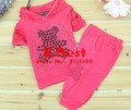 [E-Best] baby girl fashion clothing set lace hooded t-shirt+pants kids short sleeve clothes 3sets/lot E-SSW-001