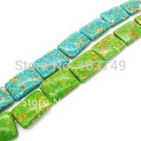 30pcs 22*30mm natural turquoise stone rectangle bead mix color semi-precious stone beads  free shipping HA530