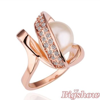 New Arrival Free shipping 18k plated rose gold ring mixed order white pearl ring health jewelry fashion jewelry