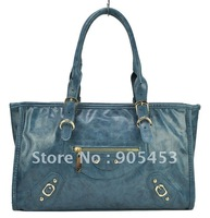 Free shipping Wholesale and retail Top Quality zip pocket in front leather handbag/fashion handbag, tote bag /TB126