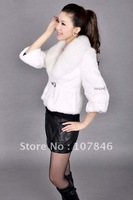 VK0005 Lady Genuine Whole-hide Rabbit Fur Jacket with Big Fox Collar Women Slim Outerwear Free shipping in stock OEM