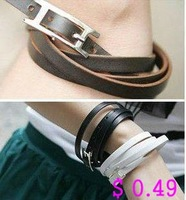 Min.order is $10 (mix order) Fashion Bracelet Leather Bracelet 3 Colors Style Free shipping Kb015