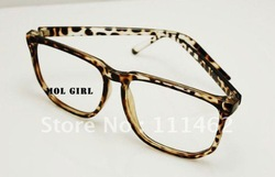 The tide Vintage leopard big black box of flat glasses eyeglass frame and sheet size face(China (Mainland))