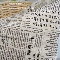 Free Shipping! Janpanese Linen Cotton Fabric Newspaper Design B BLACK - 150cm x 100cm N1217
