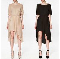 freeshipping women's swallowtail dress with petticoat ladies' fashion chiffon asymmetrical slash neck empire dresses