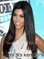 """Charming Long Straight Black 19"""" Lace Front Wig Synthetic Hair Free Shipping"""