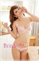 Underwear bra sets,gather Japanese sexy lace pink three-dimensional floral cute underwear, girls underwear, bra