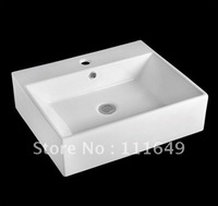 7419 Bathroom Ceramic  Counter top Rectangular Wash hand Sink basin lavatory lavabo bathroom cabinet basin