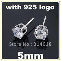Free Shipping 5mm Zircon Stud Earrings CZ Stud Earrings 925 Sterling Silver Stud Earrings With 925 Logo 20pairs/lot