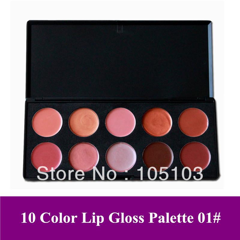 Free Shipping!! 10 Color cosmetics Lip gloss/ lipstick/ lip care cream gel makeup Palette 01# better than lipstick(China (Mainland))