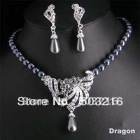 High Quality Clear Crystal Rhodium Plated Hot Selling Promotion Costume Pearl Jewelry Set