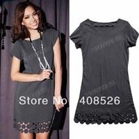 2013 New Women Stylish Fashion Tulip Cuff Circle Gray Mini Cotton Dress free shipping 3957