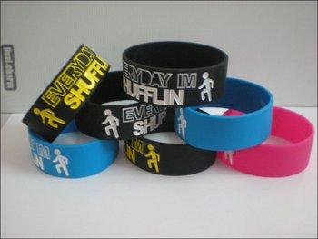 "1"" wide band, LMFAO wristband, Everyday I'm Shuffling silicon bracelet, promotion gift, 5colours, 50pcs/lot, free shipping"