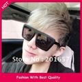 Wholesale and Retail new fashion summer wome's and men's sunglass star design with rivet black frame 12pcs/lot