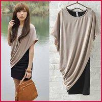 [SEKKES]Free Shipping Fashion Batwing Sleeve T Shirt  Women Two-Piece Mini Dress  DRS032