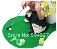 Free Shipping 1Set Potty Putter Toilet Golf Game Mini Golf Set Toilet Golf Putting Green