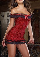 1pcs/lot New hot red Sexy lace women lingerie Underwear set dress and G-string free shipping w1063